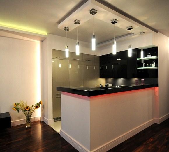 Oświetlenie LED  kuchnia  galeria  instalacjebudowlane pl -> Kuchnia Sufit Led