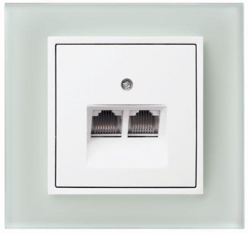 Berker B7 glas, gniazdo komputerowe, szkło białe